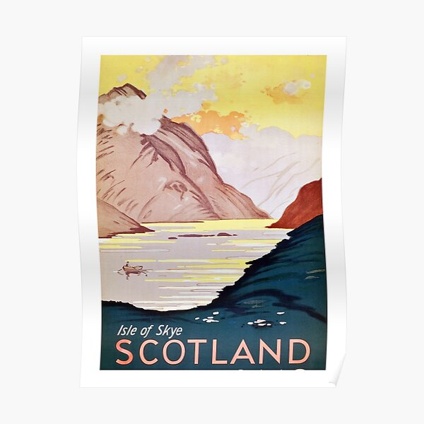 Scotland, Isle of skye, vintage, travel poster Poster