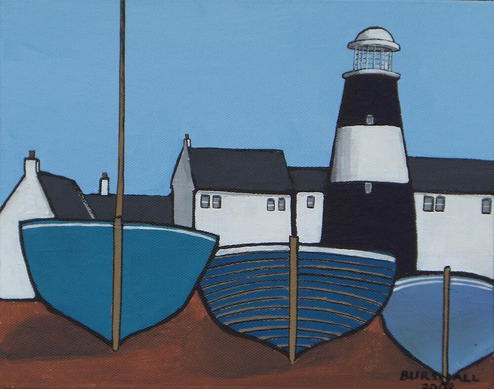 Three blue boats by bursnall