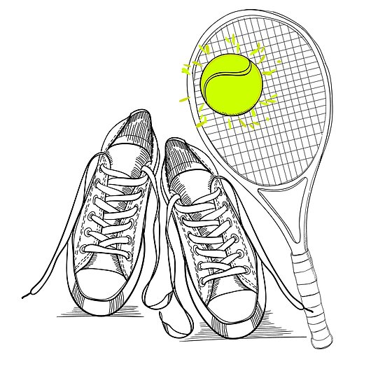 Drawing Isolated Objects Sneakers With Tennis Racquet And Ball