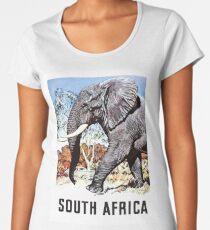 South Africa, Elephant, safari, jungle, vintage travel poster Women's Premium T-Shirt