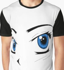 Anime Inspired Blue Eyes Graphic T-Shirt