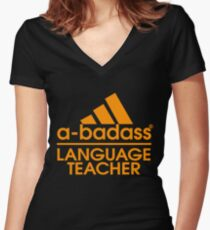 LANGUAGE TEACHER BEST COLLECTION 2017 Women's Fitted V-Neck T-Shirt