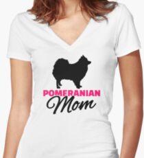Pomeranian Mom Women's Fitted V-Neck T-Shirt