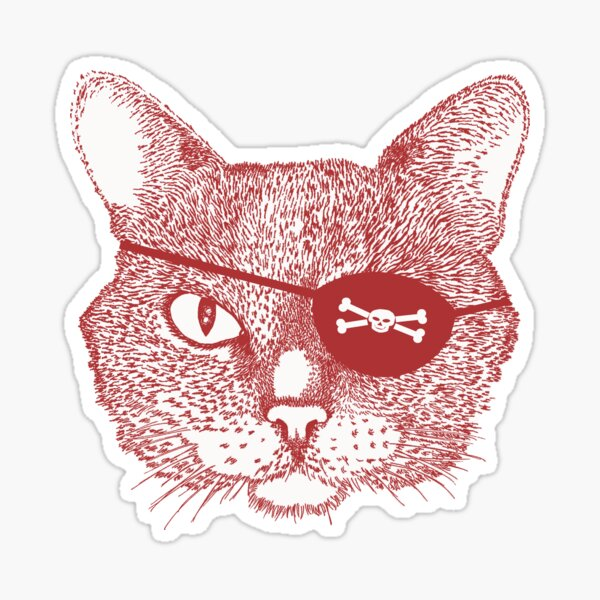 Cat Pirate - burgundy Sticker