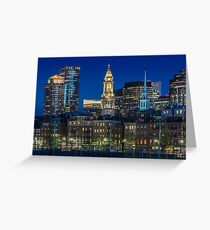 BOSTON Abendliche Skyline von North End & Financial District Greeting Card