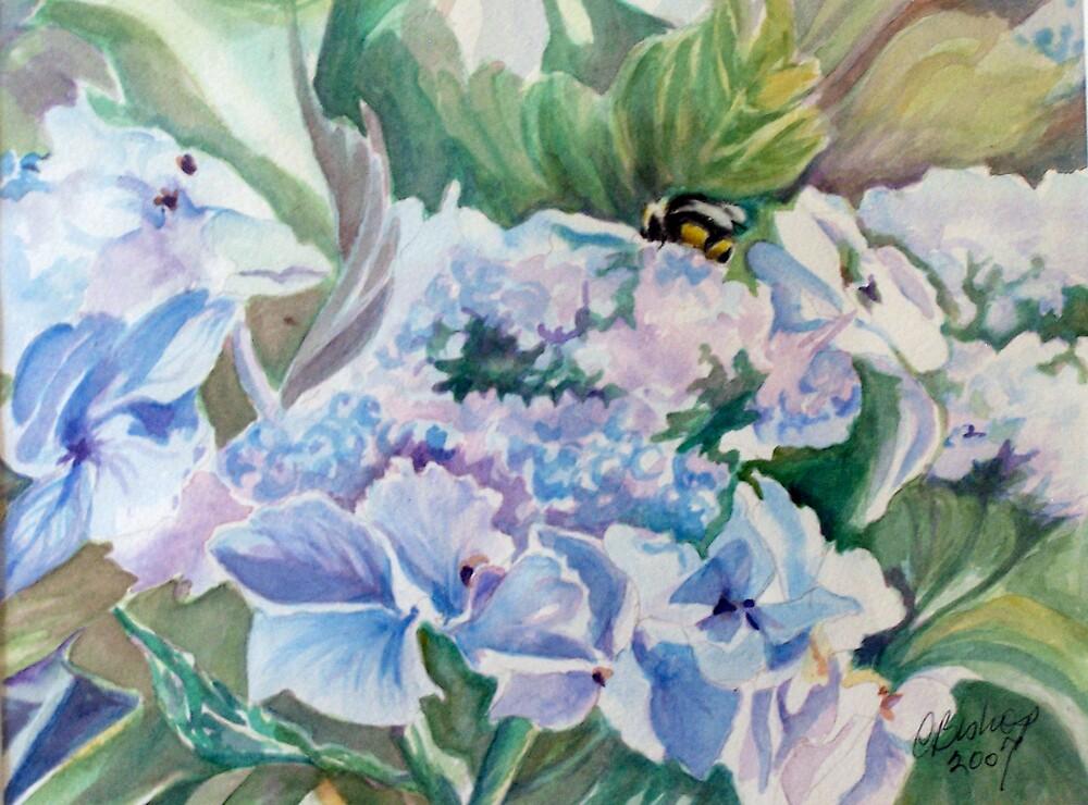 Bee on Blooms in Blue by Carolyn Bishop