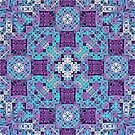 Cyan, Purple, White Mosaic Pattern by Lyle Hatch
