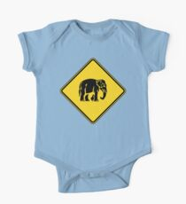 Caution Elephants Crossing ⚠ Thai Road Sign ⚠ One Piece - Short Sleeve