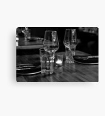 Dinner for 2 in B&W Canvas Print