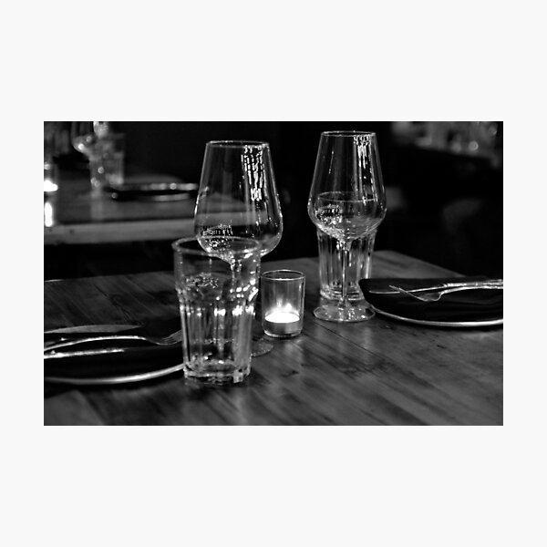 Dinner for 2 in B&W Photographic Print