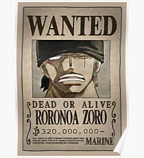One Piece Wanted Poster: Zoro Poster