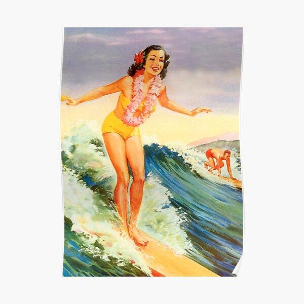 Hawaii, big wave, surf, vintage travel poster Poster