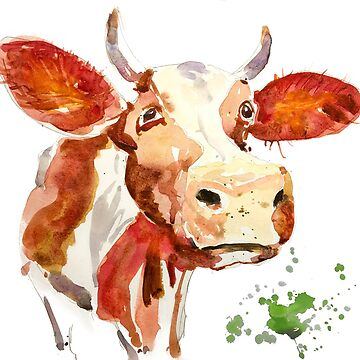 Watercolor Cow Painting - Attitude by tallbridgeguy