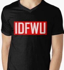 IDFWU - Red and White Men's V-Neck T-Shirt