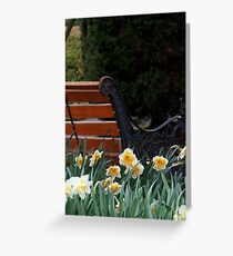 Dafodils by Park Bench Greeting Card
