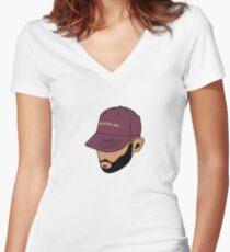 Jon Bellion Face Art Women's Fitted V-Neck T-Shirt