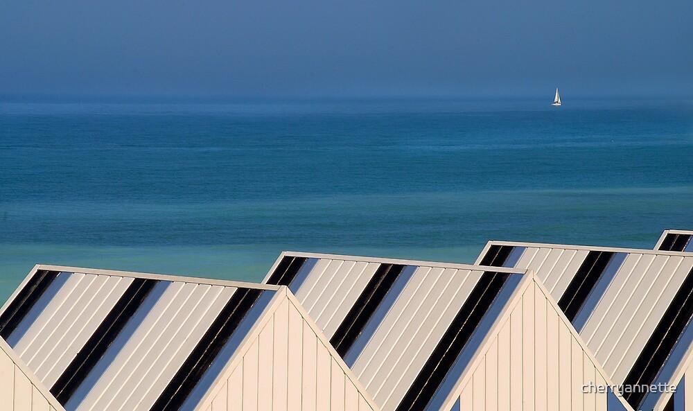 Normandy beach huts by cherryannette