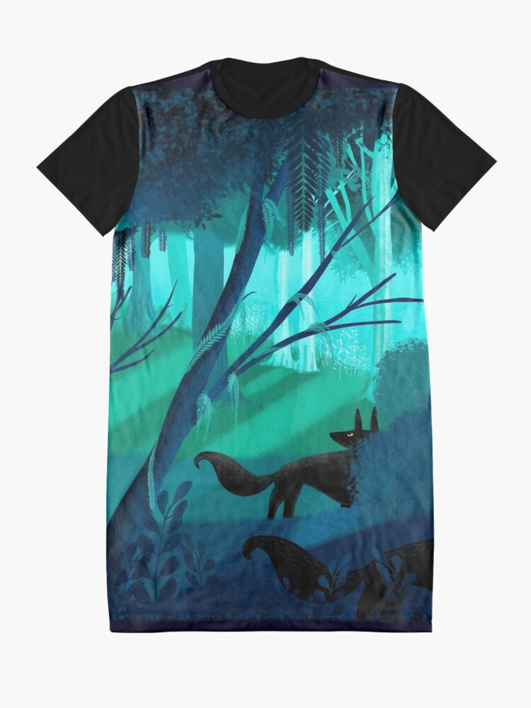 Alternate view of Shadow Wolves Stalk The Silver Wood Graphic T-Shirt Dress