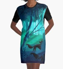 Shadow Wolves Stalk The Silver Wood Graphic T-Shirt Dress