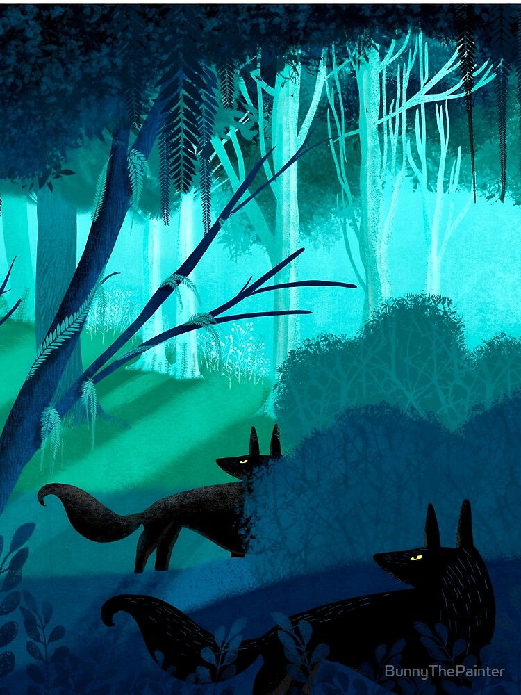 Shadow Wolves Stalk The Silver Wood by BunnyThePainter