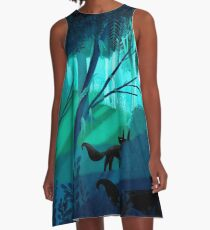 Shadow Wolves Stalk The Silver Wood A-Line Dress
