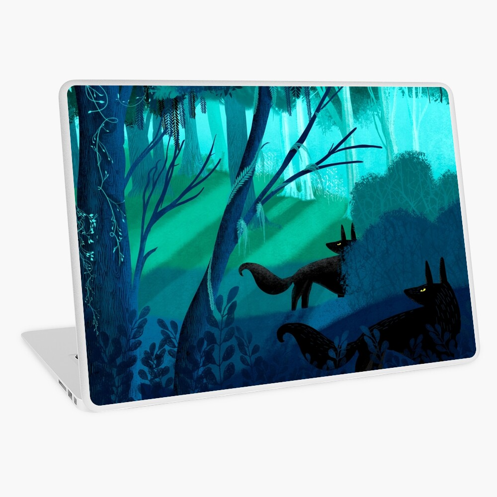 Shadow Wolves Stalk The Silver Wood Laptop Skin
