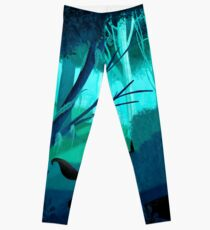 Shadow Wolves Stalk The Silver Wood Leggings