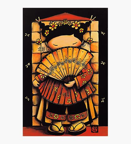 Chinese Red Fan Girl Photographic Print