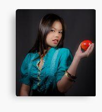 Girl with an Apple Canvas Print