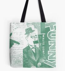 Vintage Green Funny Face Collage Art Tote Bag