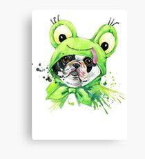 Cute Dog Frog Dress Canvas Print