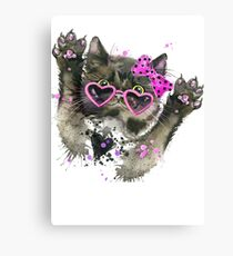 Cute Kitty Kitten With Star Glasses Canvas Print