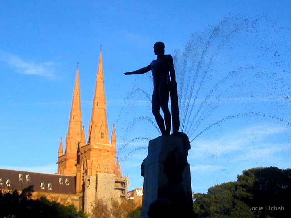 St Mary's Cathedral and The Archibald Fountain Hyde Park Sydney by Jodie Elchah
