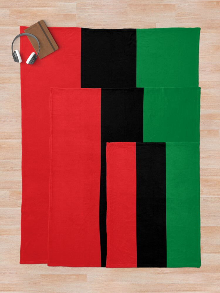 Alternate view of Pan African Flag T-Shirt - UNIA Flag Sticker - Afro American Flag Throw Blanket