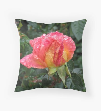 Wet and Wild Rose Throw Pillow