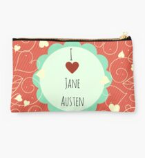 I Love Jane Austen Orange Design Studio Pouch