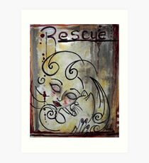 Cat Rescue Adoption Advocacy Folk Art Loralai Art Print