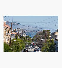 San Francisco Street View, Through the Wires, of Incoming Fog - California Photographic Print
