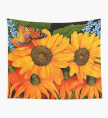 Sunflowers and Monarch Butterfly Wall Tapestry