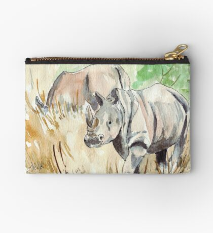 Two White Rhinos Zipper Pouch