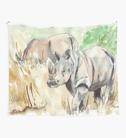 Two White Rhinos Wall Tapestry