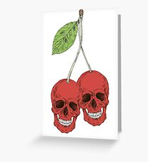 Skull Red Cherry Greeting Card