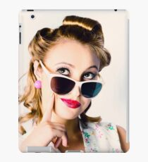 Fashion Girl In Beauty Makeup And Retro Hair Style iPad Case/Skin