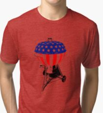 USA Charcoal Kettle Grill T-Shirt Stars and Stripes July 4th Tri-blend T-Shirt