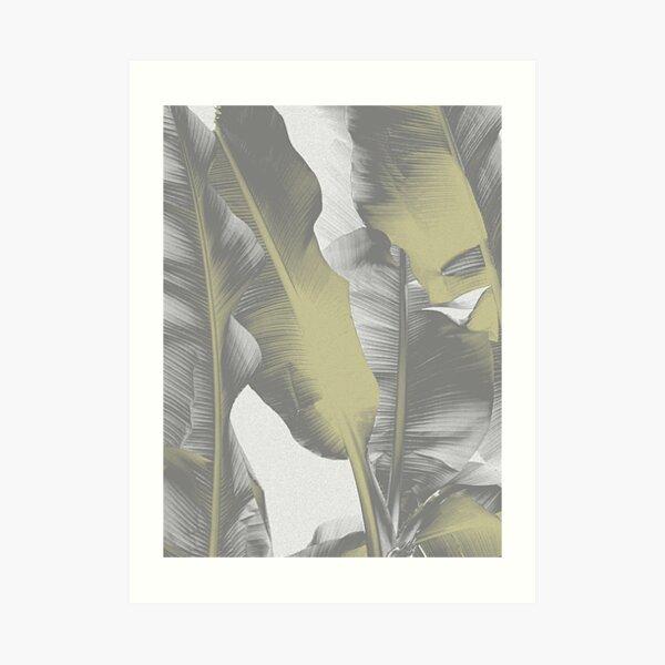 Gray and Gold Banana Leaves  Art Print