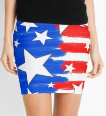 Brushed Red White and Blue Mini Skirt