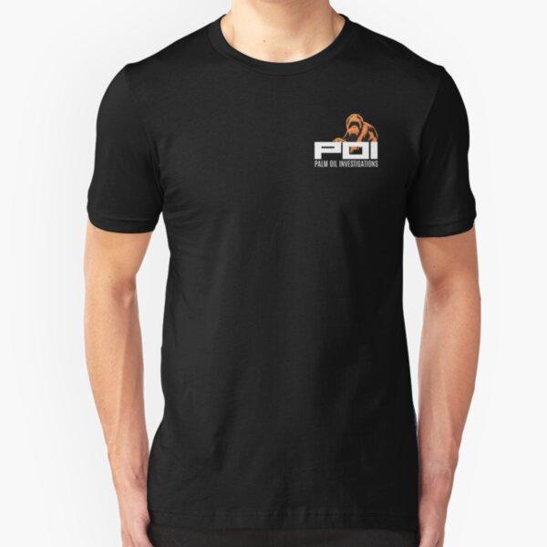 POI - Palm Oil Investigations small logo orange Slim Fit T-Shirt