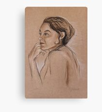Woman portrait  in pastel Canvas Print