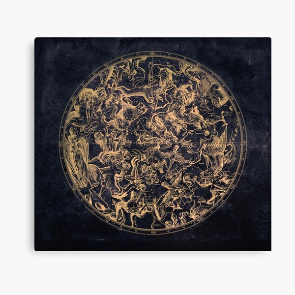 Vintage Constellations and Astrological Signs   Yellowed Ink and Cosmic Colour Canvas Print