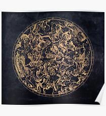 Vintage Constellations and Astrological Signs | Yellowed Ink and Cosmic Colour Poster